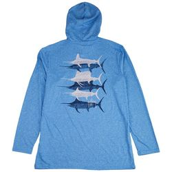 Guy Harvey Mens Scribbled Billfish Heathered Hooded T-Shirt