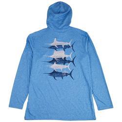 Mens Scribbled Billfish Heathered Hooded T-Shirt
