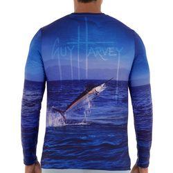 Guy Harvey Mens Fish On Photoreal Long Sleeve Shirt