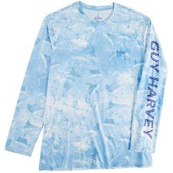 Guy Harvey Mens Saltwater All Over Marlin Long Sleeve Shirt
