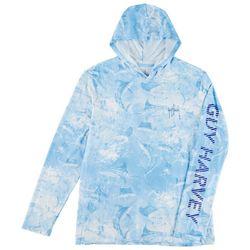 Guy Harvey Mens Saltwater All Over Marlin Hooded Shirt