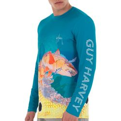 Guy Harvey Mens Red Fish Long Sleeve T-Shirt