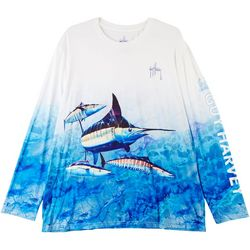 Guy Harvey Mens Filtered Marlin Long Sleeve Shirt