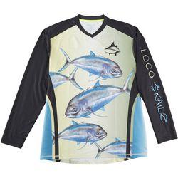 Loco Skailz Mens Jacks Back V-Neck Long Sleeve T-Shirt