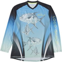 Loco Skailz Mens Pompano V-Neck Long Sleeve T-Shirt