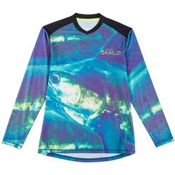 Loco Skailz Mens Sailfish Face V-Neck Long Sleeve T-Shirt