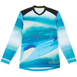 Loco Skailz Mens Tuna Face V-Neck Long Sleeve T-Shirt