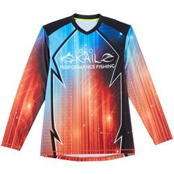Loco Skailz Mens Techno Americana V-Neck Long Sleeve T-Shirt