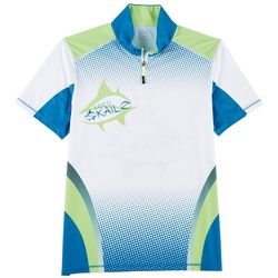 Loco Skailz Mens Gecko Quarter Zip Short Sleeve Shirt