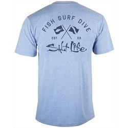 Salt Life Mens Crossed Flags Heathered T-Shirt