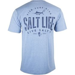 Salt Life Mens Marlin Hook Badge Heathered T-Shirt
