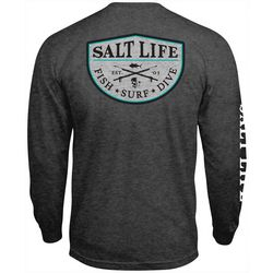 Salt Life Mens Heathered Spearfish Badge Long Sleeve T-Shirt