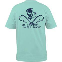 Salt Life Mens Blue Skull & Hooks Pocket T-Shirt