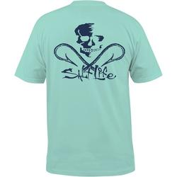 Mens Blue Skull & Hooks Pocket T-Shirt