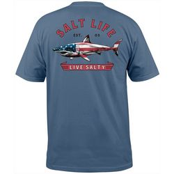 Salt Life Mens Americana Shark Short Sleeve Pocket T-Shirt