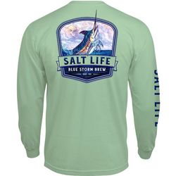 Salt Life Mens Long Sleeve Blue Strom Brew T-Shirt