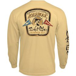 Salt Life Mens Long Sleeve Aqua Flags T-Shirt