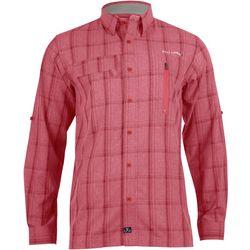 Salt Life Mens Angler Plaid Woven Long Sleeve Shirt