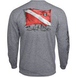 Salt Life Mens Heathered Dive Flag Long Sleeve T-Shirt