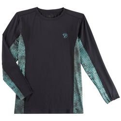 Gillz Mens Waterman Tech Scale Print Long Sleeve T-Shirt