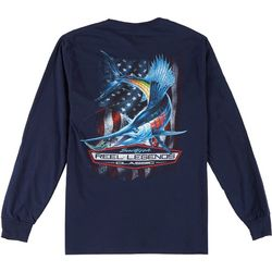 Reel Legends Mens Long Sleeve Americana Sailfish T-Shirt