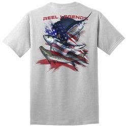 Reel Legends Mens Patriot Saltwater Heather Graphic T-Shirt