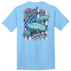 Reel Legends Mens Flag Tarpon Graphic T-Shirt