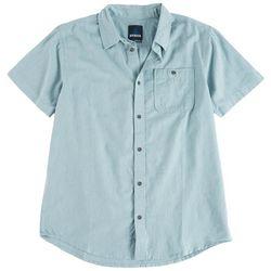 Prana Mens Jaffra Solid Button Down Short Sleeve Shirt