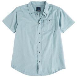 Mens Jaffra Solid Button Down Short Sleeve Shirt