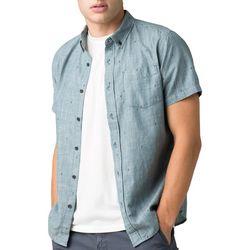 Prana Mens San Martino Slim Button Down Short Sleeve Shirt