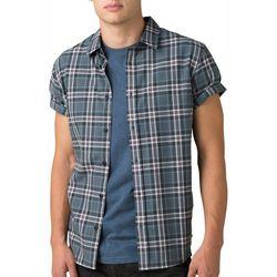 Prana Mens Graden Plaid  Button Down Short Sleeve Shirt