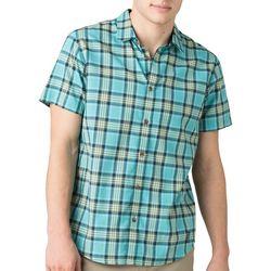 Prana Mens Graden Plaid Short Sleeve Button Down Shirt