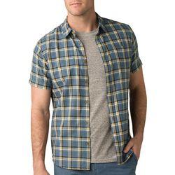 Prana Mens Bryner Plaid Button Down Short Sleeve Shirt