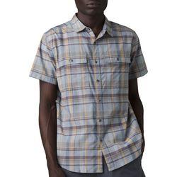 Prana Mens Kirkwood Plaid Button Down Short Sleeve Shirt