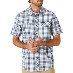 Wrangler Mens Asymmetric Plaid Short Sleeve Shirt