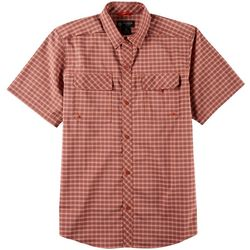 Flatwood Threads Mens Plaid Woven Short Sleeve Shirt