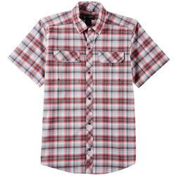 Mens Plaid Print Short Sleeve Shirt
