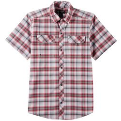 Flatwood Threads Mens Plaid Print Short Sleeve Shirt