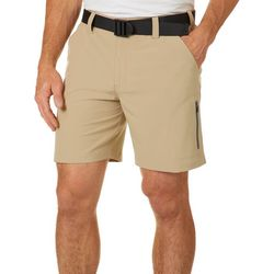 Mens Belted Solid Cargo Shorts