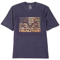 RealTree Mens American Flag Camo Logo T-Shirt