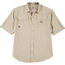 Mens Short Sleeve Cape Vent  Poly Woven Shirt