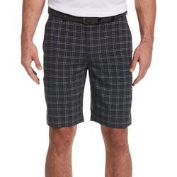 Mens Textured Windowpane Plaid Shorts