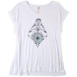 Brisas Plus Scoop Neck Printed Short Sleeve Top