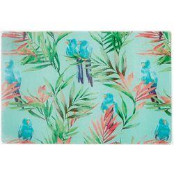 Coastal Kitchen Tropical Birds Small Glass Cutting Board