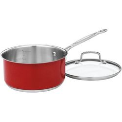 3 Qt. Red Sauce Pan With Lid