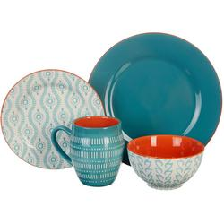 16-pc. Tangiers Turquoise Dinnerware Set
