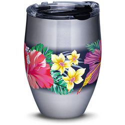 12 oz. Stainless Steel Tropical Flowers Wine Tumbler