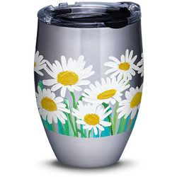 12 oz. Stainless Steel White Daisies Wine Tumbler