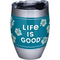 12 oz. Stainless Steel Life Is Good Hibiscus Tumbler