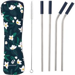6-pc. Floral Stainless Steel Reusable Straw Set